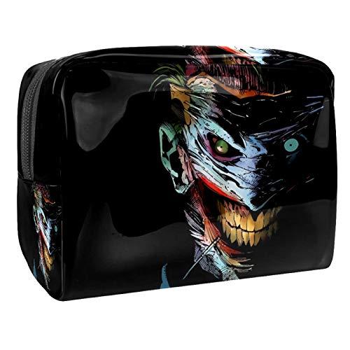Joker - Monedero negro de 18,5 x 7,6 x 13 cm con cremallera negra para mujeres y niñas, bolsa de maquillaje, bolsa de viaje
