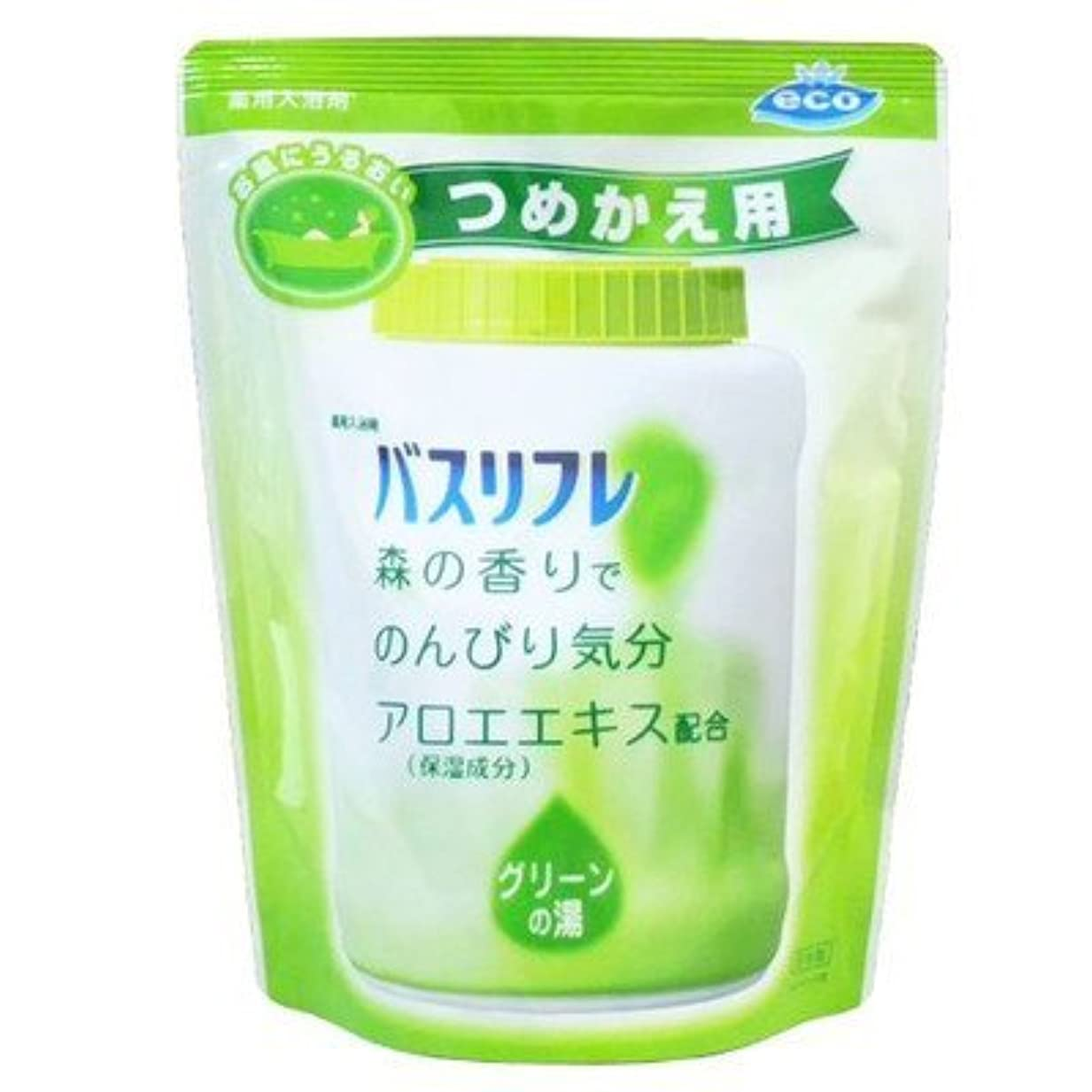 ピストルビジュアル雇用薬用入浴剤 バスリフレ グリーンの湯 つめかえ用 540g 森の香り (ライオンケミカル) Japan