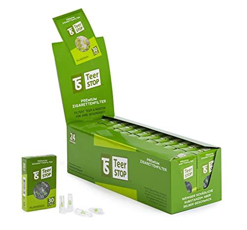 TS Teer STOP Premium Zigarettenfilter für Raucher 30x24 ProBox (720 Stück)|Zigarettenfilter 8mm Regular|Zigaretten Filteraufsatz 8mm|Reduziert Teer, Nikotin Filtrationssystem|Zigarettenspitze Kurz