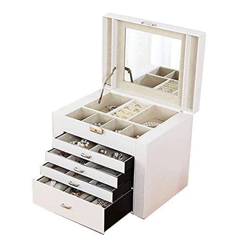 JIANGCJ Bella Caja de joyería de 5 Capas Joyas Grandes Cofre para Collares Pendientes Gafas de Sol Pulseras Relojes Caja de baratijas