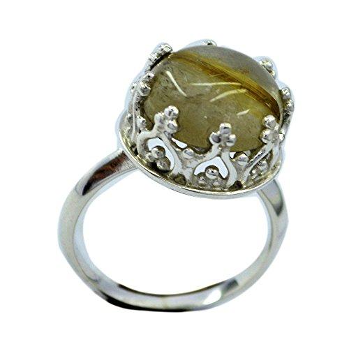 Jewelryonclick Runde Form echte Rutilquarz Ring Sterling Silber Krone Einstellung Schmuck Größe P