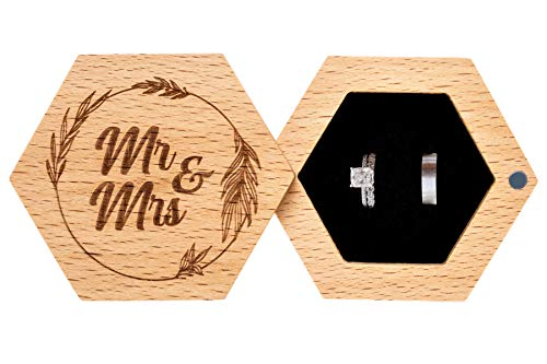 Strova Mr. and Mrs. Wooden Wedding Ring Box for Couples – Engraved, Hexagon Shaped with Soft Pillow Cushion Designed for Proposal, Ceremony, Bearer, Display or Personal Jewelry Storage Organizer
