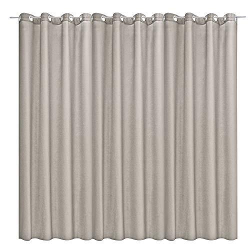 JEMIDI Cortina con ojales de 300 cm (ancho) x 245 cm (largo) opaca, pero deja pasar la luz, cortina con ojales, cortina opaca (300 cm (ancho) x 245 cm (largo) y gris claro)