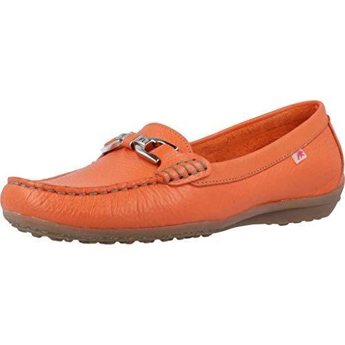 Fluchos | Zapato de Mujer | Bruni F0804 Floter Naranja | Zapato de Piel | Cierre con Mocasín | Piso de Goma
