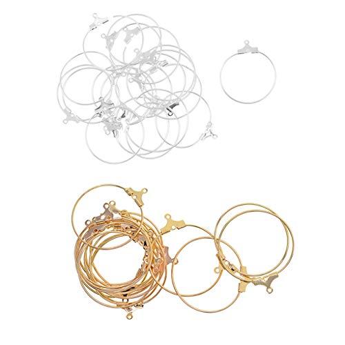 Colcolo Ensemble de 40 Boucles d'oreilles en Perles pour Femmes Boucles d'oreilles Créoles en Acier Inoxydable Boucles d'oreilles Créoles Huggie