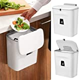 Wall-mounted trash can, Kitchen trash can, Hanging trash can, 2.4 Gallon, Installable indoor compost bucket Cupboard / bathroom / bedroom / office / toilet (white)