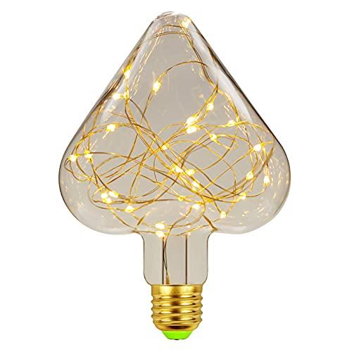 Bombilla Edison Vintage Bombilla de Filamento LED 360° Ámbar Resplandor Gran Angular Bombillas Decorativas...