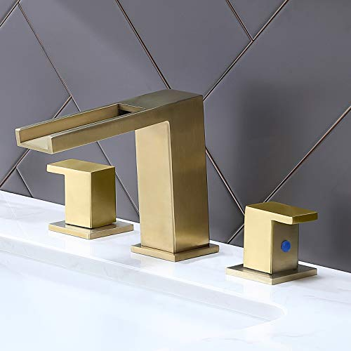 Ufaucet Modern Commercial 2 Handle 3 Hole Widespread Brushed Gold Waterfall Bathroom Faucet,Bathroom Vanity Sink Faucet with Hoses