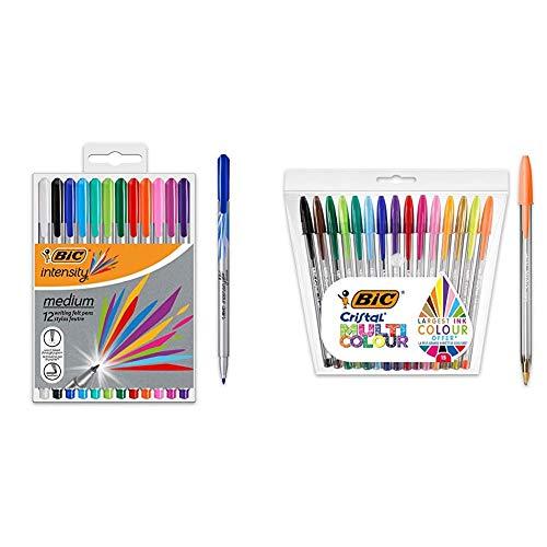 BIC Intesity Medium - Blíster de 12 unidades, rotuladores punta media (0,8 mm), surtidos + Cristal Multicolour - Pack de 15 unidades, bolígrafos de punta ancha