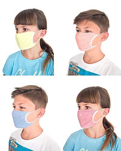 Relaxsan -  Set 4 Bandas filtrantes Rostro Boca Nariz NIÑOS 6- 12 AÑOS Lavables Reutilizables absorbentes Tejido bacteriostático