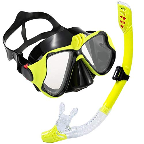 V VILISUN Set Snorkeling per Adulti, Set Snorkeling Asciutto e Anti-Appannamento, Maschera da Sub con Supporto per Telecamera e Tubo per Presa d'Aria, Ideale per Immersioni, Snorkeling e Nuoto
