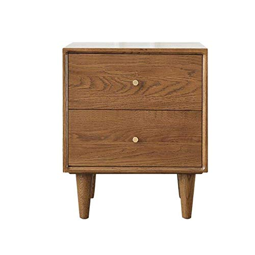 NBVCX Möbel Dekoration Tisch Massivholz Nachttisch Century Modern End Beistelltisch für Wohnzimmer Schlafzimmer Tische mit 2 Schubladen (Farbe: Walnuss Größe: 15,74 * 13,77 * 18,89 Zoll)