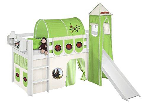 Lilokids Set Angebot - Spielbett JELLE Dragons Grün mit Rutsche - Hochbett Weiß - mit Vorhang, Turm, Tunnel und Taschen