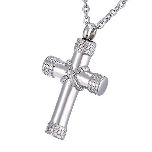 K-Y - Collar con colgante de urna en forma de cruz de cristal para cenizas de acero inoxidable, acero inoxidable, Silver Plated-2, 36.8mmx20.5mm