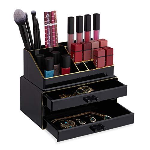 Relaxdays Make Up Organizer klein, 2-teilige Schminkaufbewahrung mit Schubladen, stapelbares Kosmetikregal, schwarz/Gold, 1 Stück