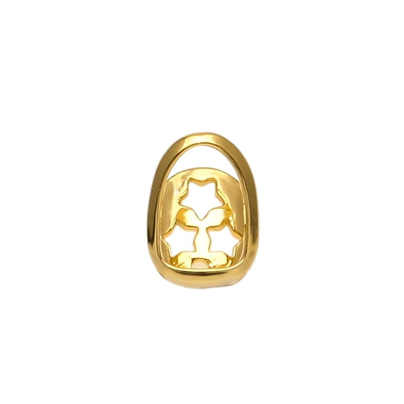 聞きます時計酒YHDD ヒップホップシングル中空ゴールドの歯象嵌ゴールドエッジ歯ヨーロッパとアメリカのゴールドブレースシングル歯ヒップホップジュエリー (色 : ゴールド)