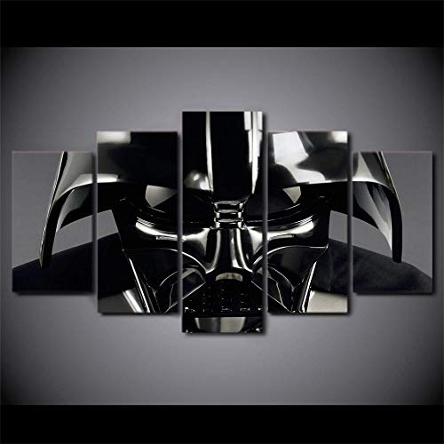 HAIYOUYOU Pictures Poster 5 Piece Canvas Art Darth Vader Helmet Painting Wall Pictures for Living Room Modern HD Printe -size1-With Frame