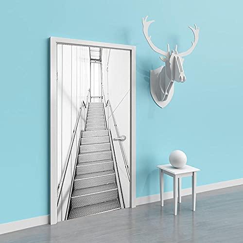Pegatinas de Puerta en 3D 95x215cm DIY Autoadhesivo Puertas Mural Etiqueta Pvc Papel Tapiz Para el Dormitorio Sala de Baño Cocina Calcomanía de la Puerta Pared - Escaleras Grises