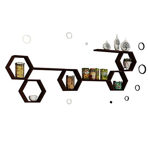 Fen wandrek, houten hangrekken, 8-delige set als kubus, boekenplank, vitrine frame, modern decoratief design voor de woonkamer
