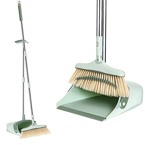 Broom and Dustpan Set, Tall Broom and Upright Dust Pan Combo, Extra Long 50 inches Handle Indoor Extendable Rotating Sweeping Brush for Home, Kitchen,Room, Office&Garden