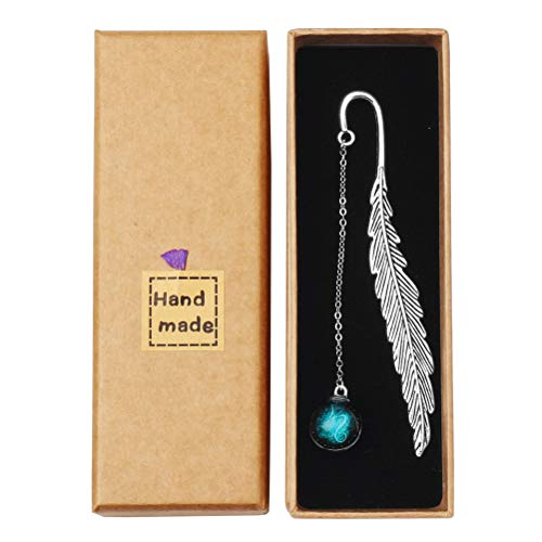 Pimoys Metal Feather Bookmark, Vintage Feather Metal Bookmarks Bookmarks with Beads Pendant, Gifts for Readers (Capricorn)