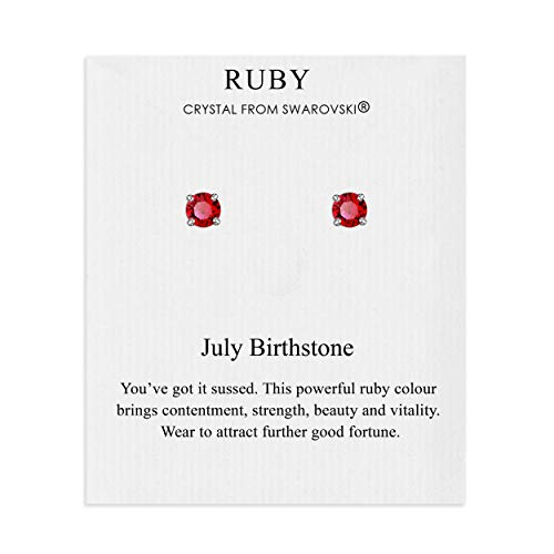 July (Ruby) Birthstone Earrings on Quote Card Created with Austrian Crystals