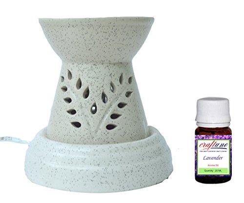 Royal Handicrafts Handcrafted Ceramic Premium Electric Aroma Oil Burner/Oil Diffuser - Ethnic Design Offwhite Matte Finish - Free Lavender Aroma Oil 2