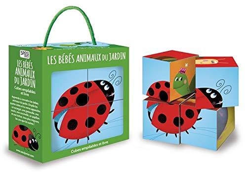 Les bébés animaux du jardin : Cubes empilables et livre