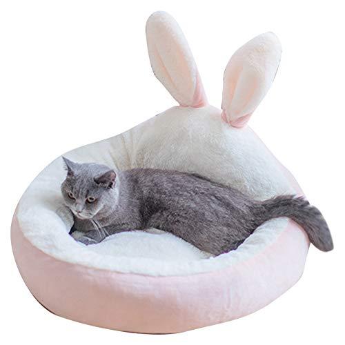 BLEVET Cama para Mascotas, Suave Redondo Gato Dormido Cama Pequeña Perro Cama MZ121 (M: 59CM, Pink)
