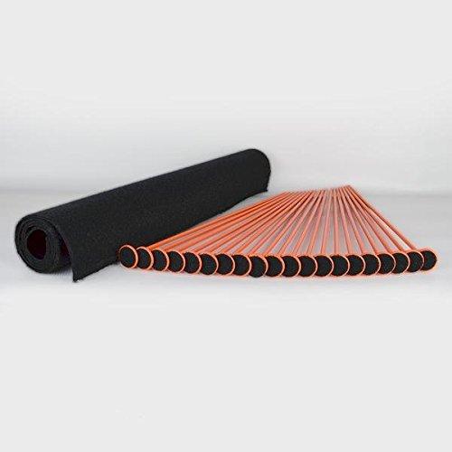 "Gun Storage Solutions Rifle/Shotgun Plastic Kit and Shelf Liner - Rack for Gun Cabinet, Gun Safe Organizer Accessory, Includes 40 Orange 16-Inch Rods and 45"" x 19"" Black Woven Nylon Loop Fabric"