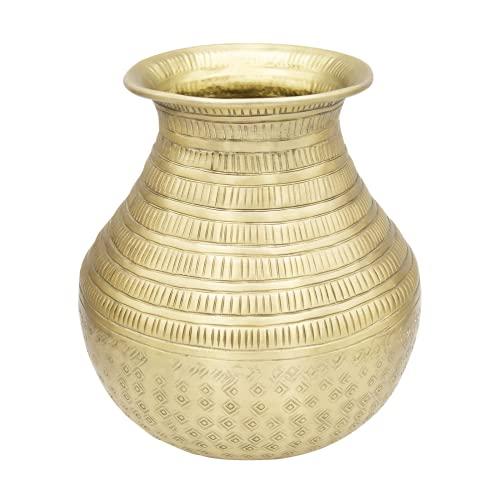 LaLe Living Jarrón Deniz en color dorado antiguo con superficie martillada de aluminio Ø20 x H21 cm, decoración de mesa marroquí o florero para salón, comedor y cocina