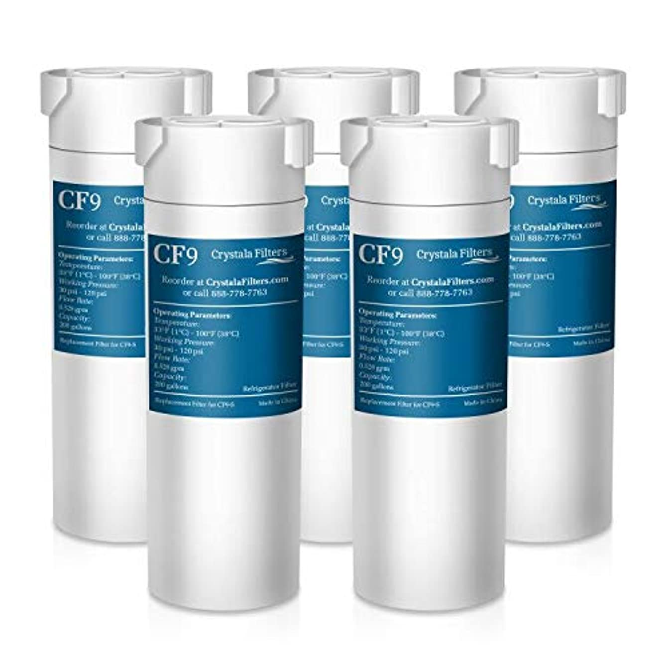 Crystala Filters Compatible with GE XWF Water Filter, Replacement for GE SmartWater Refrigerator Water Filter, (5 PACK)