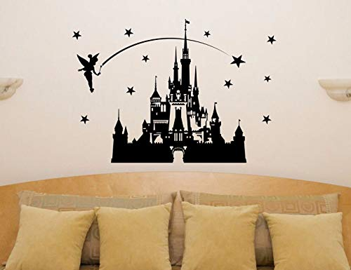 mmwin Kids Room Carton Castle Princesa de Cuento de Hadas Tinkerbell Wall Art Decal Sticker 56 * 81 cm