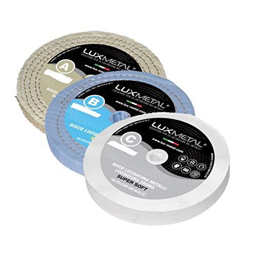 Kit de 3 discos pulidoras Lux de 200 mm de diámetro, de algodón, para prepulido, superacabado para pulir y eliminar óxido para aluminio, acero inoxidable, latón, cobre, bronce, hierro, madera