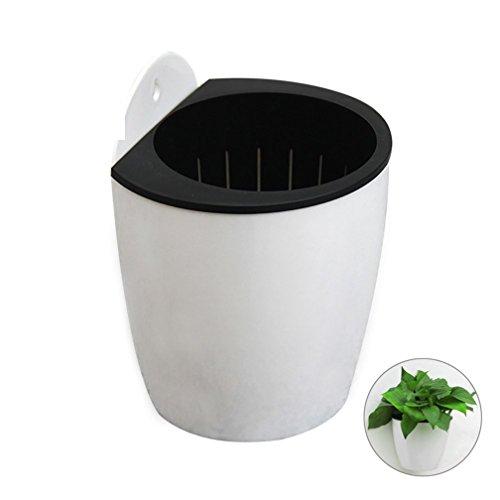 Tianfuheng Pots de fleurs à suspendre en plastique à arrosage automatique pour intérieur ou extérieur S Blanc/noir