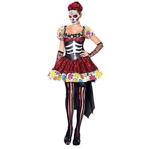 Partilandia Disfraz de Esqueleto Mejicana Catrina Da de los Muertos Mujer Adulto para Halloween (M)