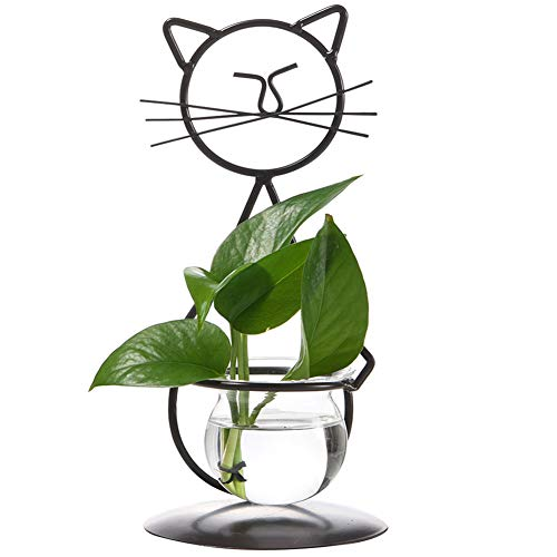 Marbrasse Desktop Glass Planter Vase Holder, Modern Creative Cat Plant Terrarium Metal Stand for Hydroponics Plants Home Garden Wedding Decoration Outdoor Planter Ideas (Style 2)