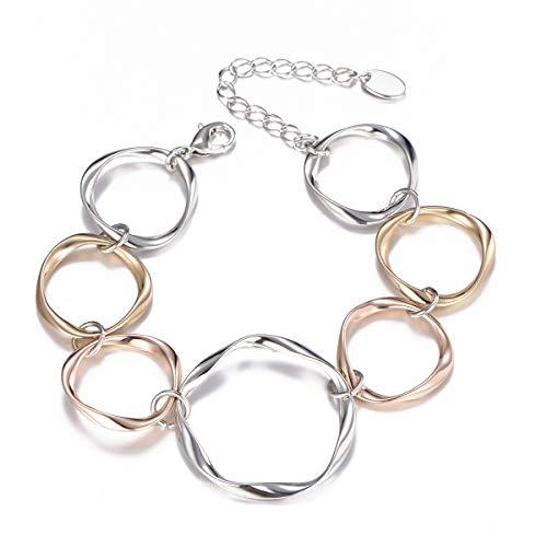 Ouran - Bracciale da donna, con anelli e cerchi rotondi, alla moda, in oro rosa e argento, ottimo regalo per mamma, amici e Lega, colore: Colori assortiti., cod. S36-SL-0463-MX