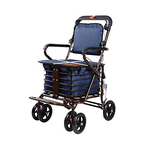 GWXTC Faltbarer Bollerwagen Klappwagen, Multifunktions-Old Man Pushable Warenkorb 4 Räder Lebensmittel einkaufen Gehhilfe Ruhesitz Einkaufswagen bewegen, Belastung: 100 kg (Color : A)