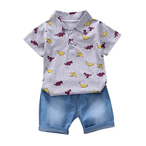 DIASTR Bekleidungsset Junge Sommer Baby T-Shirt mit Dinosaurier-Aufdruck Top + Jeans Set Kinder Bekledung Baby Shirt