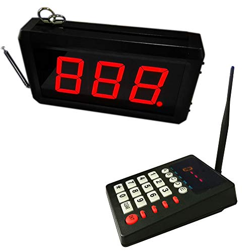 Wireless Queue Calling System Pager - Take A Number System Waiting Number System Customer Number System for Restaurant Hospital Bank Waitting Line Management (1keypad +1display)