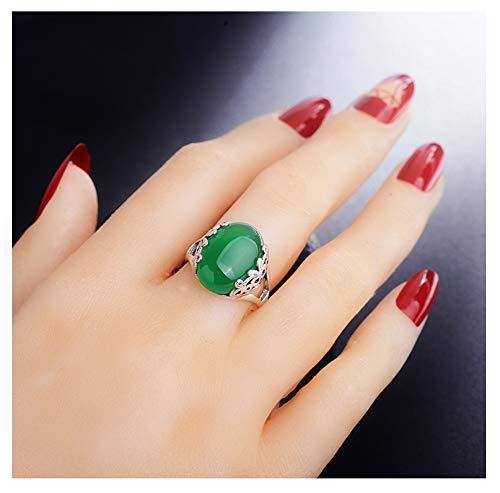925 zilveren Ring Opening Verstelbare Big Treasure Granaat Ring, Hip-hop Hipster Paar Liefde Engagement Ring High-end Gift Souvenir Sieraden (rood, Geel, Groen, Wit).