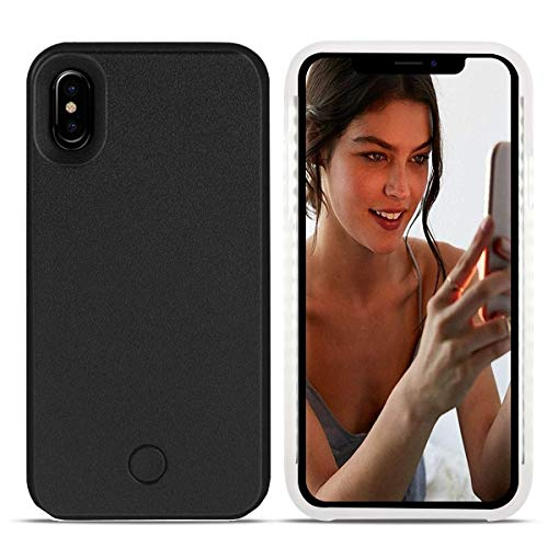 Avkkey iPhone XS Max LED Case iPhone XS Max Selfie Luce iPhone Case Great for a Bright Selfie And FaceTime Illuminato Luce Up Custodia Cover per iPhone XS Max 6.5\'\'-Nero