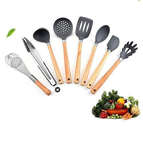 HIZLJJ 8 piezas de utensilios de cocina de silicona, utensilios de madera de bambú, herramienta de cocina, espátulas de silicona no tóxicas, pinzas, espátula, cuchara, utensilios de cocina, utensilios