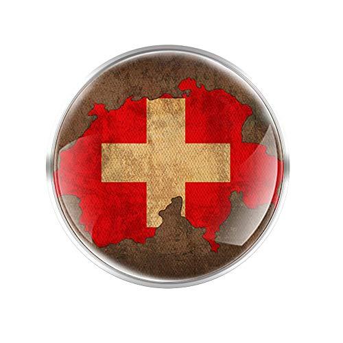 Schweizer Flagge Glas Runde Konvex Top Brosche Männer Frauen Dekorative Schmuck Geschenke