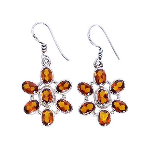 Pendientes colgantes de plata de ley 925 con piedras preciosas de citrino y joyas de diseño, regalo para ella FSJ-5463