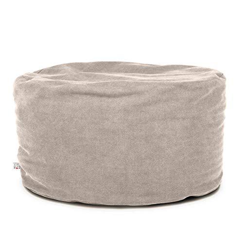 Arketicom Soft Chill Pouf Sacco Poggiapiedi Morbido Rotondo Sfoderabile Puff da Salotto 65x42 Grigio Beige