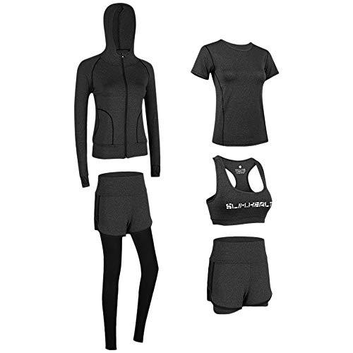 Lixada Chándales de Fitness para Mujer 5pcs Secado Rápido Ropa Deportiva para Correr Trotar Fitness Yoga Ciclismo
