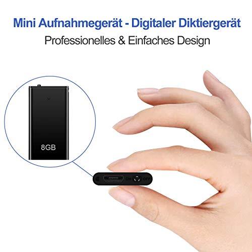 Mini Digitales Diktiergerät, TDW Mini Aufnahmegerät 8GB - 96 Stunden | 42 * 22 * 3mm | HD Stimme 1536kbps | Stimmenaktivierung&mikrofon | Klein MP3 Player Rekorder | USB Anschluss