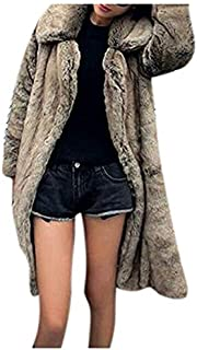GESELLIE Womens Winter Warm Lapel Long Faux Fur Overcoat Jacket Coat Outerwear
